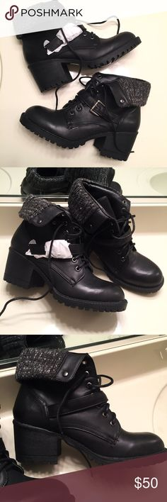 NEW black heeled buckle boots women size 9 Brand new, never worn and still with tags. Adorable black patent leather lace up heeled hightop boots Shoes Heeled Boots