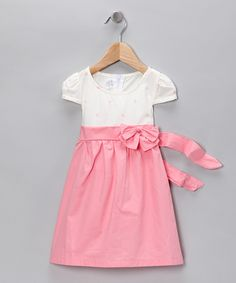 Pink & White Empire-Waist Dress for Emma and Lyla