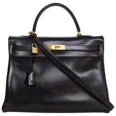 8/30 Hermes Vintage Black 35cm Kelly Retourne Bag 1