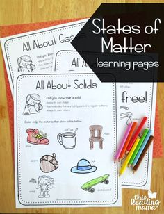 States of Matter Learning Pages - free - This Reading Mama