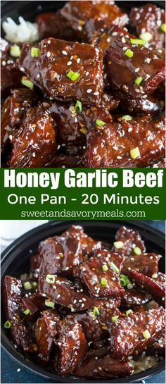 Sticky Honey Garlic Beef made in one pan in just 20 minutes, is full of flavor, made with sweet honey, freshly grated ginger and just a dash of spiciness. #beef #onepan #asianrecipes #chineserecipes #30minutedinner