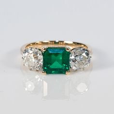 Jewelry OFF! Gold Emerald and Old European Cut Diamond Ring Or Antique, Antique Jewelry, Vintage Jewelry, Three Stone Engagement Rings, Diamond Engagement Rings, Three Stone Rings, Diamond Rings, Emerald Diamond, Diamond Cuts