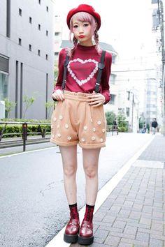 japanese street fashion her hair color iz so cute. Japanese Street Fashion, Tokyo Fashion, Harajuku Fashion, Kawaii Fashion, Punk Fashion, Lolita Fashion, Fashion Photo, Love Fashion, Fashion Outfits