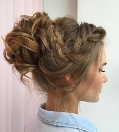 Curly Messy Bun With A Braid