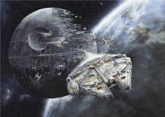 Star Wars - Death Star & Millennium Falcon