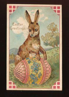 Bunny Rabbit & Fancy Egg  Antique Embossed Easter Postcard-mmm24