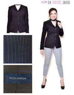 Black Blazer women button down jacket stripe pattern 90s clothing vintage blazer womens clothing suit jacket office clothes made in Italy by SixVintageChicks on Etsy