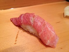Fatty Tuna from Sushi Dai - Tokyo, Japan.  I waited 2.5 hours to get into the restaurant - it was worth every minute.  The restaurant is in the Tsukiji Fish Market - they have the longest line:)....