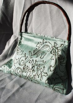 Mint Green Mini Purse with Brown Embroidery Accent, $10