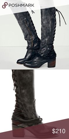 Freebird 'Coal' Boot These hit just below the knee. Lace up detail in back, side zipper entry. Made in Mexico 🇲🇽 BNWT No trades/No Offers, these are marked 40% off retail. Freebird by Steve Madden Shoes Heeled Boots