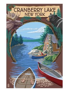 Cranberry Lake, New York - Cabin on Lake Montage Poster by Lantern Press at AllPosters.com