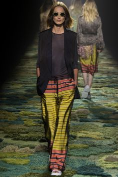 Dries Van Noten Spring 2015 Ready-to-Wear look matches striped pajama bottoms with neutrals on top