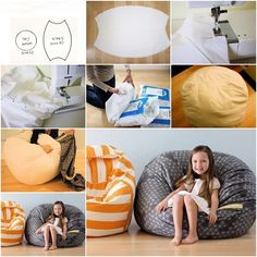 I know kids love to snuggle in this soft beanbag for reading or TV, and want to make one for them, this is an easy tutorial to follow and requires basic sewing techniques. Supplies you need: Fabric (cotton or velvet preferred) Poly filling Sewing machine ---- More DIY Ideas ----