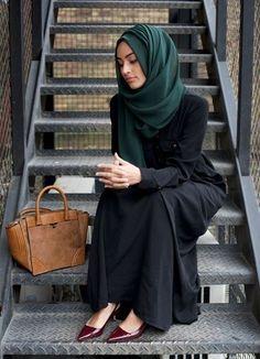 black abaya with green hijab