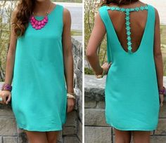 Love the Open Back Design! Lake Blue Plain Cut Out Lace Evening Party Beach Linen Cotton Mini Dress