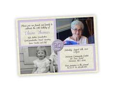 Printable 90th Birthday Invitation Purple by PartyPrintExpress