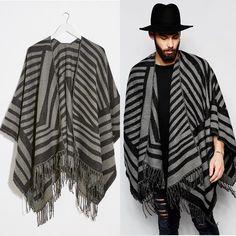 diva-closet | Rakuten Global Market: ASOS select Gregory Jersey Cape poncho mens unisex outerwear beige brown stripe