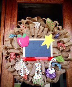 Back to School Whimsical Burlap Chalkboard Wreath, Teacher Gift, Teacher Appreciation Gift, Preschool, Mother's Day Out