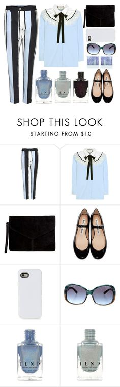 """Stripes and bow"" by juliehalloran ❤ liked on Polyvore featuring Dolce&Gabbana, Gucci, Miss Selfridge, Acne Studios, LMNT, Prada and Polaroid"