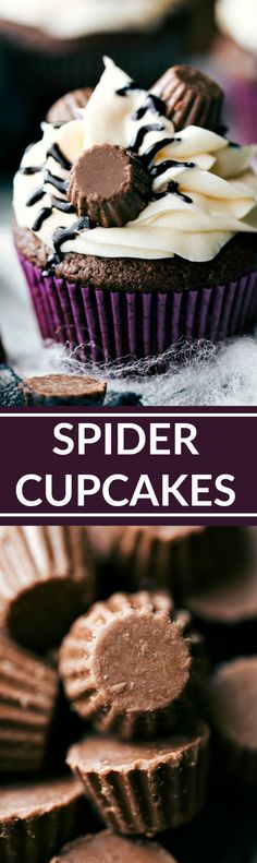 Easy decorated Spider Cupcakes. Recipe and VIDEO TUTORIAL via…