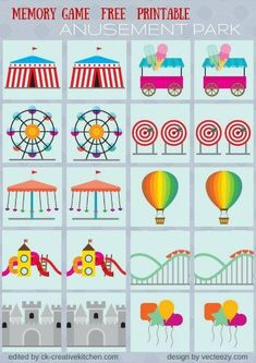Circus and park - Memory game free printables - Creative Kitchen Preschool Lesson Plans, Preschool Printables, Preschool Crafts, Preschool Activities, Free Printables, Circus Crafts Preschool, Carnival Classroom, Kids Carnival, Carnival Themes