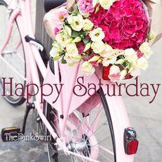 Vintage Bike Flowers Happy Saturday