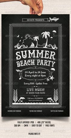 Chalkboard Summer Beach Party Template. Instant download here.