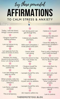 Affirmations for Anxiety & Stress - the remote yogi - Our mind is a powerful thing, huh? Maybe it doesn't feel like it when battling with anxiety or st - Positive Affirmations Quotes, Self Love Affirmations, Affirmation Quotes, Affirmations For Happiness, Affirmations For Women, Encouragement, Self Care Activities, Stress And Anxiety, Mantras For Anxiety