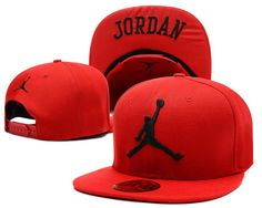 Mens Nike Air Jordan The Black Jumpman Embroidery Logo Jordan Sports Fashion Snapback Hat - Red