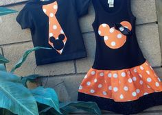 Halloween, Mickey Mouse, Minnie Mouse BROTHER SISTER SET. Available 3mo through 7/8. Includes shirt and dress.