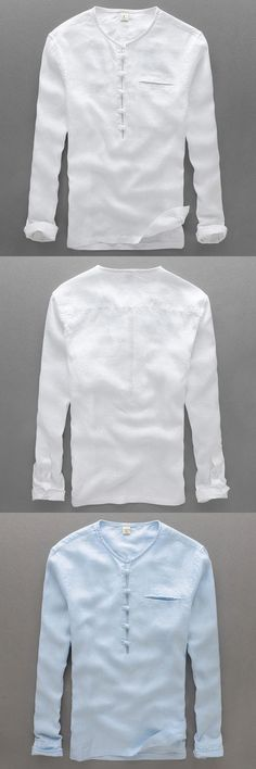 2017 New style linen shirt men casual white shirts men long sleeve shirt mens fashion round neck tie-button mens shirts camisa Indian Men Fashion, Mens Fashion Suits, Camisa Medieval, White Shirt Men, White Shirts, Casual Shirts For Men, Men Casual, Mens Kurta Designs, Mens Clothing Styles