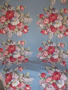 Fab Blue Floral c30's Barkcloth Era Bedspread & Drapery Set - For sale on Ruby Lane Vintage Fabric