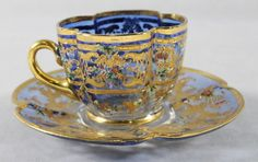 MOSER DECORATED CUP AND SAUCER : Lot 98 Vintage Cups, Vintage Tea, Teapots And Cups, Teacups, Silver Tea Set, Glass Coffee Cups, Blue Cups, Tea Art, Tea Cup Saucer