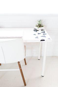DIY geometric chalkboard desk