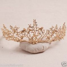 Bridal Gold tone dragonfly vine Crystal Baroque queen crown tiara HR475 | eBay