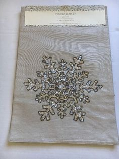 New Cynthia Rowley Silver Copper Beige Beaded Snowflake Table Runner Sequins #CynthiaRowley