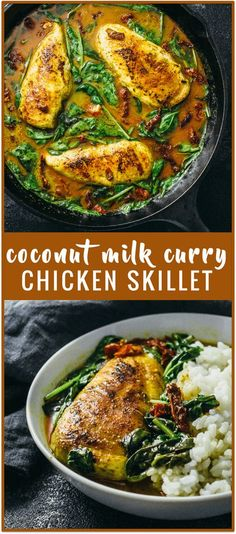Chicken skillet with coconut milk curry recipe - This chicken skillet is simmered in a spicy Thai inspired coconut milk curry along with baby spinach leaves and sun-dried tomatoes. Great with rice or noodles. via @savory_tooth