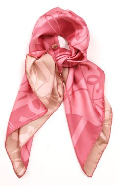 Chanel - 100% silk blush/nude square scarf.