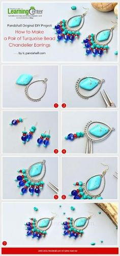 Pandahall Original DIY Project - How to Make a Pair of Turquoise Bead Chandelier Earrings from LC.Pandahall.com | Jewelry Making Tutorials & Tips 2 | Pinterest by Jersica
