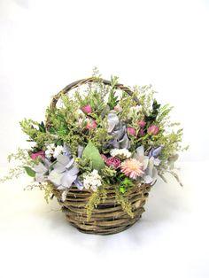 Fragrant Flower Basket Arrangement Dried by summersweetboutique