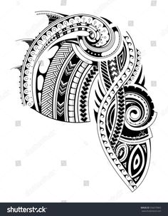 Maori style tattoo design for chest and sleeve areas (chest and sleeve parts are separated for convenient use)