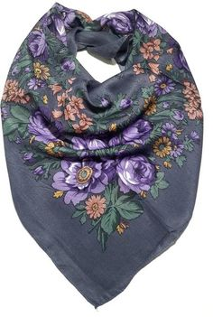 064b625f3e855b Traditional Polish Folk Head Scarf - Classy Floral Collection - Grey