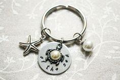 Ocean Keychain Charm Keychain Stamped Keychain by BeautyInBaubles
