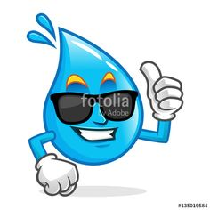 """Download the royalty-free vector """"Cool water mascot wearing sunglasses, water character, water cartoon vector"""" designed by IronVector at the lowest price on Fotolia.com. Browse our cheap image bank online to find the perfect stock vector for your marketing projects!"""