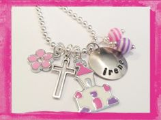 First Communion - Flower Girl - Church Charm Necklace for Girls