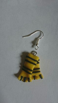 Hufflepuff harry potter scarf. Polymer clay charm or earring.