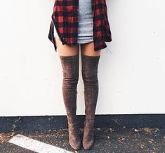 Mini with a flannel & knee high boots // this look is a favorite xx Shop winter pieces on Effinshop.com