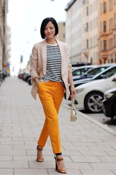 Black and white sailor stripe top, orange slacks, tan blazer... Who knew?