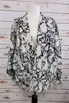 Asos Tapestry Open Front Cardigan Jacket Womens sz 6  Black White kimono #ASOS #BasicJacket #Casual