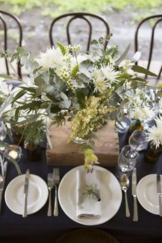 Navy Wedding with Native Florals, rustic table setting, Australian wedding - Winter Wedding Table Decorations, Christmas Table Decorations, Table Centerpieces, Greenery Centerpiece, Floral Decorations, Centrepieces, Aussie Christmas, Australian Christmas, Minimalist Christmas Tree